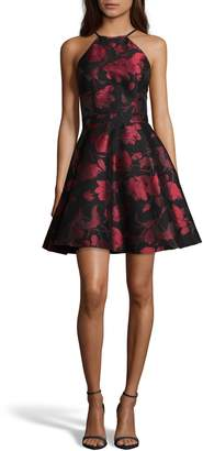 Xscape Evenings Halter Neck Brocade Fit and Flare Party Dress
