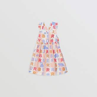 Burberry Ruffle Detail Logo Print Cotton Silk Dress