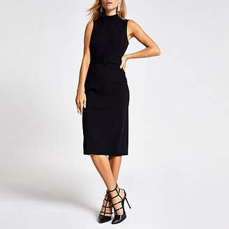 River Island Black high neck belted midi bodycon dress