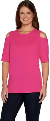Belle By Kim Gravel TripleLuxe Knit Elbow Sleeve Top w/ Cut Outs