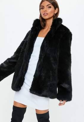 Missguided Black Stand Collar Faux Fur Coat
