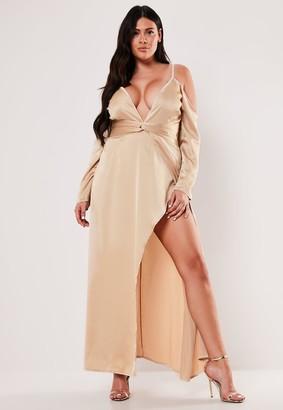 Missguided Plus Size Champagne Cold Shoulder Plunge Maxi Dress
