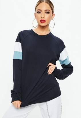 Missguided Navy Drop Shoulder Colour Block Sweatshirt