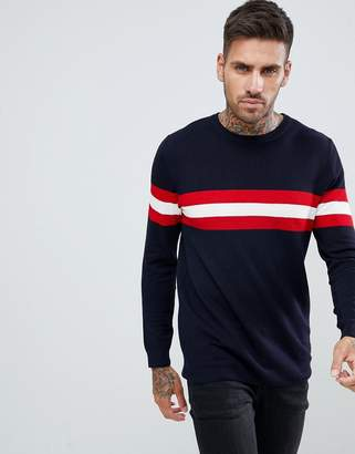 Pull&Bear Sweater With Stripe Color Block In Navy