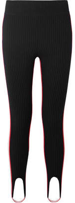Calvin Klein Striped Stretch-wool Blend Stirrup Leggings - Black