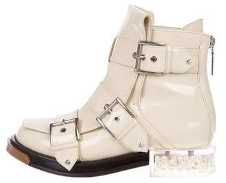 Alexander McQueen Patent Leather Buckle Ankle Boots