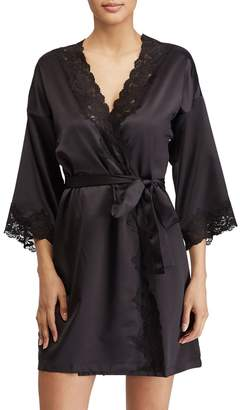 Lauren Ralph Lauren Lace Trim Houndstooth Satin Robe