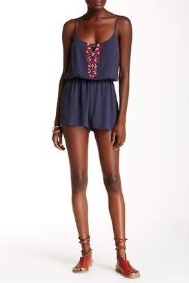 Love Stitch Embroidered Keyhole Tank Romper