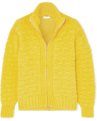 See by Chloe Cable And Waffle-knit Alpaca-blend Cardigan - Chartreuse
