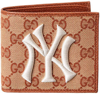 Gucci Ny Yankees Gg Supreme Canvas & Leather Wallet
