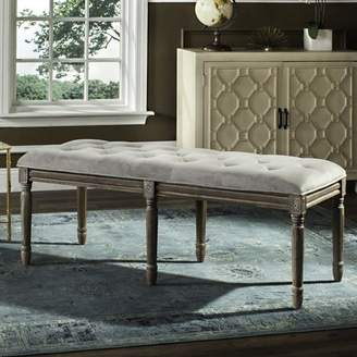 """Safavieh Rocha 19"""" High French Brasserie Tufted Traditional Rustic Wood Bench, Multiple Colors"""