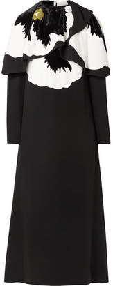 Valentino Cape-effect Silk And Velvet-trimmed Cady Midi Dress - Black