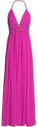 Badgley Mischka Embellished Pleated Georgette Halterneck Gown