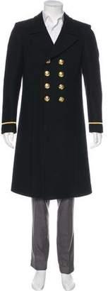 Saint Laurent 2016 Double-Breasted Wool Overcoat