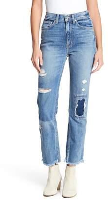 Derek Lam 10 Crosby Denim High Rise Straight Leg Distressed Jeans