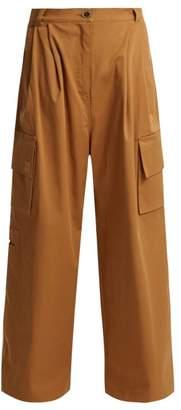 Natasha Zinko Crystal Embellished Wide Leg Cotton Trousers - Womens - Beige