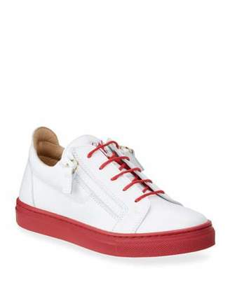 Giuseppe Zanotti Contrast-Heel Leather Low-Top Sneakers, Toddler/Kids