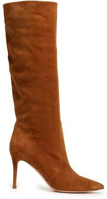 Gianvito Rossi Hansen 85 Suede Knee High Boots - Womens - Light Tan