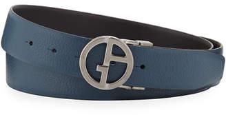 Giorgio Armani Men's Reversible Logo-Buckle Vitello Belt, Steel Blue
