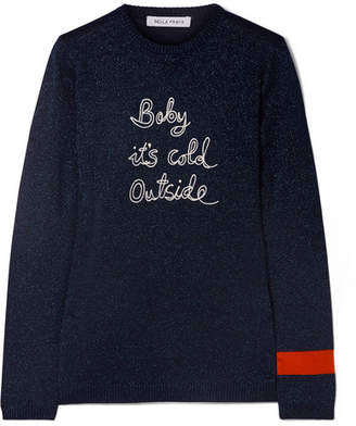 Bella Freud Baby It's Cold Outside Embroidered Metallic Wool-blend Sweater - Navy
