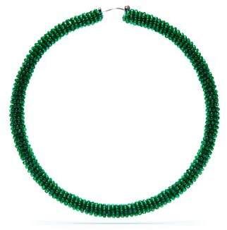 Sachin + Babi Large Glass Beaded Hoop - Emerald