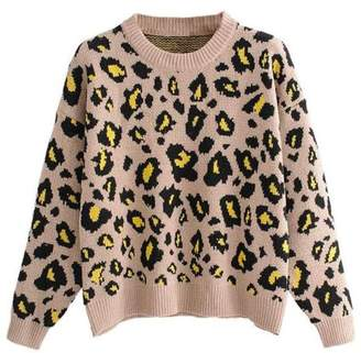 Goodnight Macaroon 'Marchay' Leopard Print Crewneck Sweater