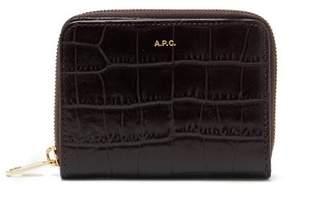 A.p.c. - Emmanuelle Croc Effect Leather Zip Wallet - Womens - Burgundy