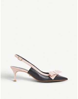 Dune Clemmie bow trim slingback leather courts