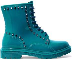 RED Valentino Studded Glossed-Rubber Rain Boots