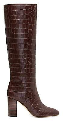 Loeffler Randall Women's Goldy Knee-High Croc-Embossed Leather Boots