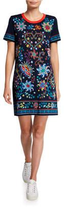 Tory Burch Floral Short-Sleeve T-Shirt Dress