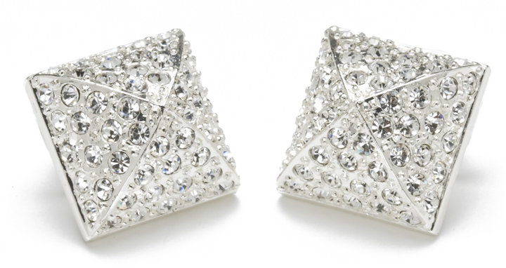 CC Skye Pave Stud Earrings in Silver or Gold