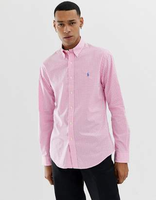 Polo Ralph Lauren slim fit gingham poplin shirt with button down collar in pink