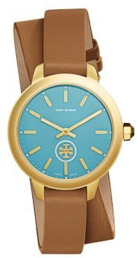 Tory BurchTory Burch Collins Goldtone and Leather Strap Watch