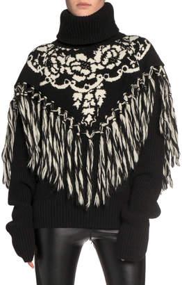 Sacai Floral Intarsia Fringe-Yoke Turtleneck Sweater