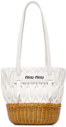 White leather and wicker bucket bag