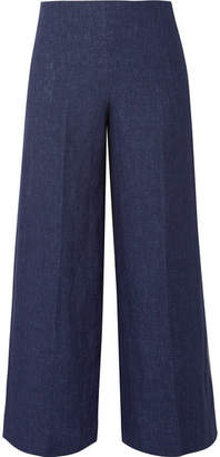Theory Terena B Cropped Linen Wide-leg Pants - Indigo