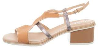 Hogan Leather Slingback Sandals