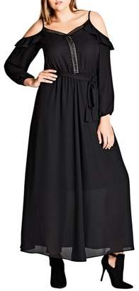 City Chic Flirty Cold Shoulder A-Line Maxi Dress