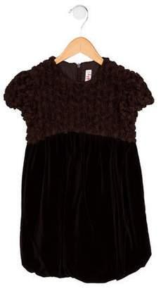 Il Gufo Girls' Floral Appliqué Velvet Dress