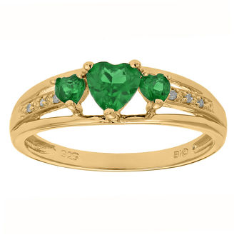 FINE JEWELRY Lab-Created Emerald and Diamond-Accent 3-Stone Heart Ring $166.65 thestylecure.com