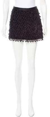 Andrew Gn Velvet Eyelet Mini Skirt w/ Tags