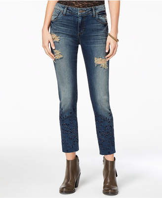 STS Blue Taylor Straight Leg with Eyelet Embroidery Detail Jeans