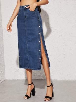 Shein Press Button Side Straight Denim Skirt