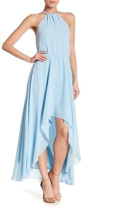 Haute Hippie Hi-Lo Halter Maxi Dress