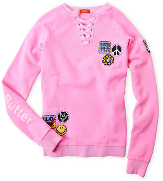 Butter Shoes Girls 7-16) Patchy Lace-Up Fleece Pullover