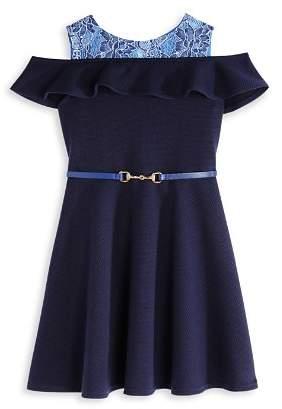 Us Angels Girls' Textured Knit & Lace Cold-Shoulder Dress - Little Kid
