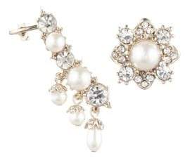 Marchesa Faux Pearl Mismatched Earrings
