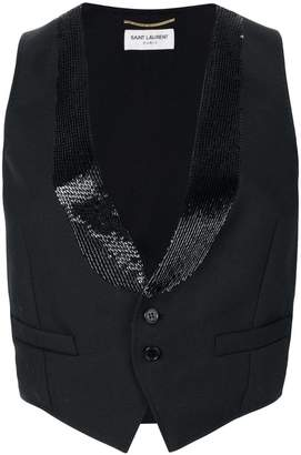 Saint Laurent cropped fitted waistcoat