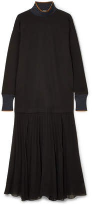 By Malene Birger Lucillas Metallic-trimmed Pleated Georgette Dress - Black
